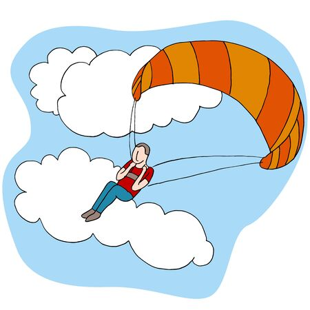 manned: An image of a man paragliding.