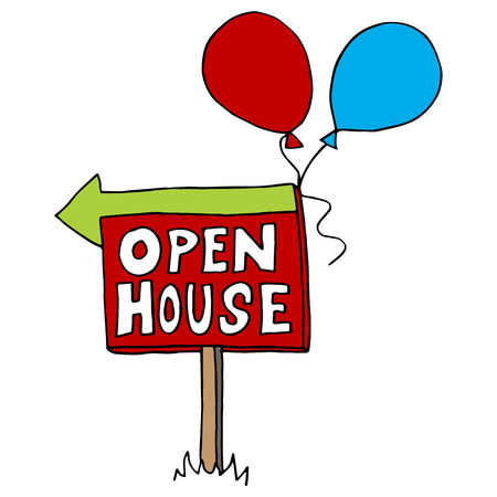 An image of an open house sign.