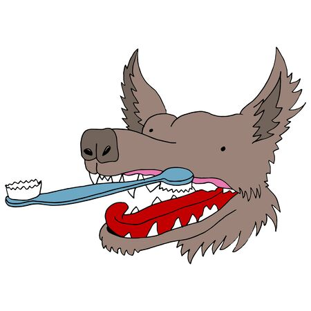An image of a dog getting his teeth brushed. Vector