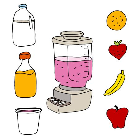 An image of a juice blender item set. Vector