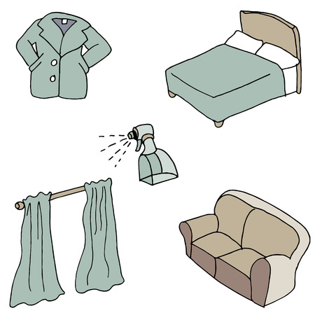 An image of fabric softener with useful items to spray. Illustration
