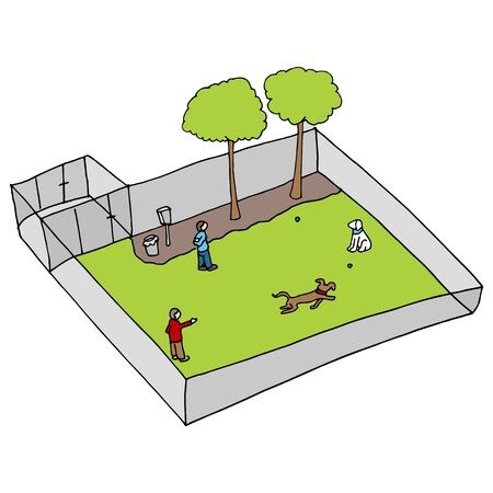 An image of a dog park. Vector