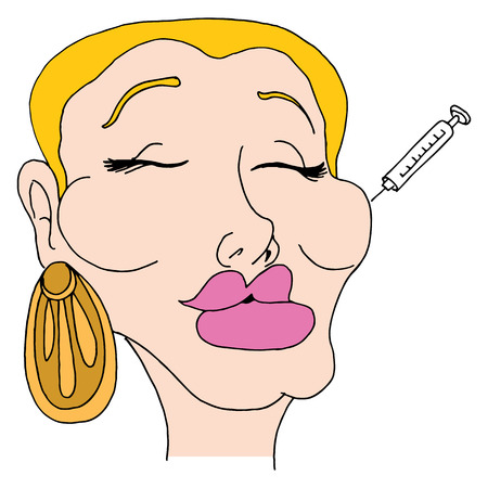 An image of a facelift woman. Vector