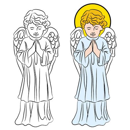 Een beeld van een biddende engel.