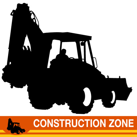 bulldoze: An image of a backhoe loader construction vehicle.