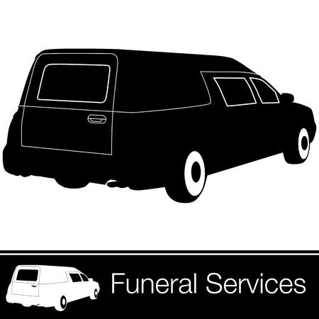 An image of a hearse. Ilustrace