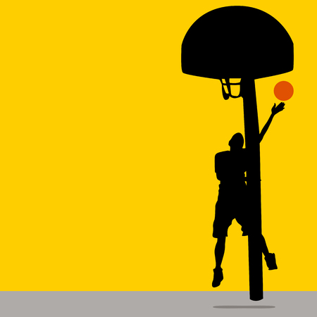 An image of a teenage boy playing basketball. Vector