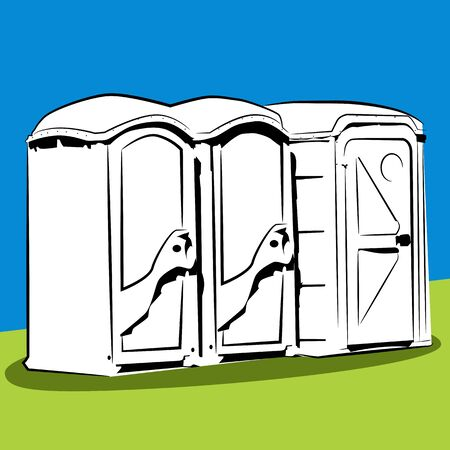 public restroom: An image of portable public toilets.