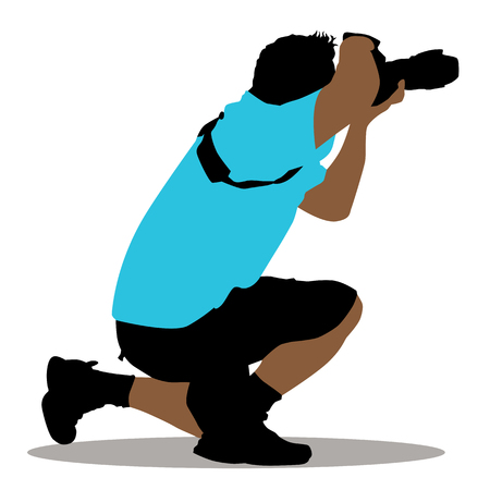 An image of a kneeling photographer. Vector