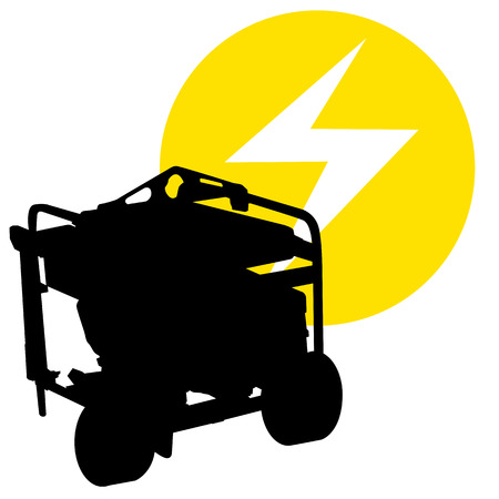 A silhouette image of a gas powered electric generator.