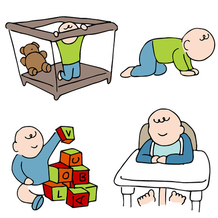 An image of a baby doing different things. Vector