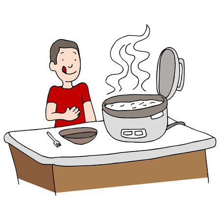preparing food: An image of a man using a rice cooker.