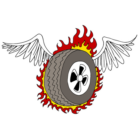 winged: An image of a winged tire with flames.