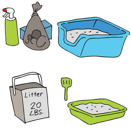 litter: An image of cat litter objects. Illustration