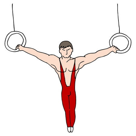 An image of a gymnast on the rings. Ilustrace