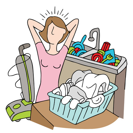 overwhelmed: An image of a woman with too many chores. Illustration