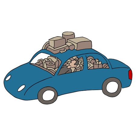 overloaded: An image of man living in his car.