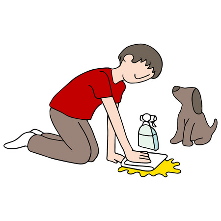 An image of a man cleaning his dogs mess. Illustration