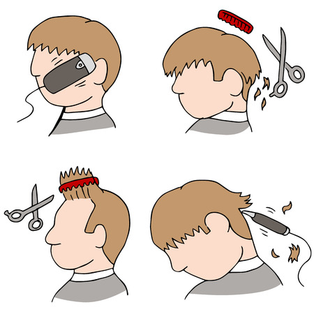 An image of the haircutting process. Vector