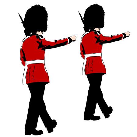 british army: An image of British royal guards. Illustration