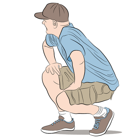 man: a kneeling man.