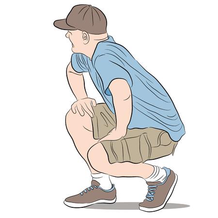en cuclillas: un hombre arrodillado.