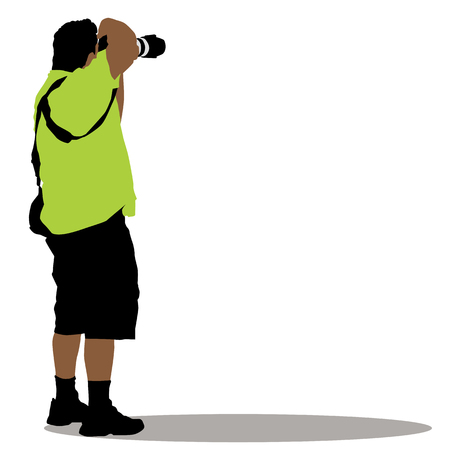 taking picture: a standing photographer. Illustration