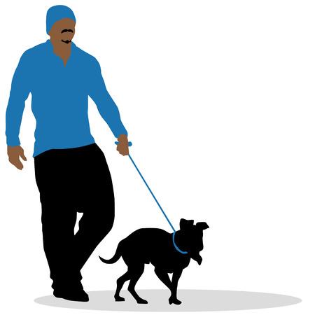 goatee: a man walking his dog. Illustration