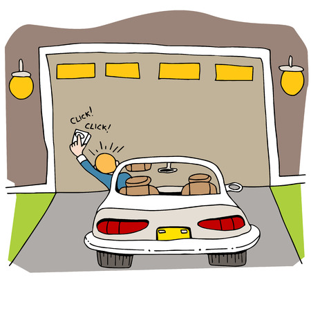 kapotte garagedeur. Stock Illustratie