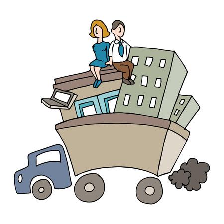 mensen verhuizen van een bedrijf. Stock Illustratie