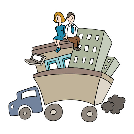relocation: people relocating a business. Illustration