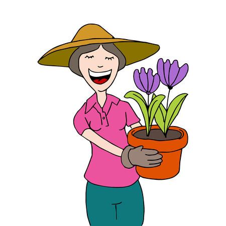 a gardening woman holding a potted plant.