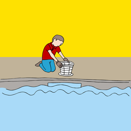 emptying: a man cleaning a pool filter. Illustration