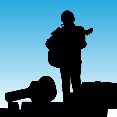 guy playing guitar: a musician on stage playing a guitar and harmonica. Illustration