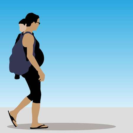 pregnant woman with child walking.