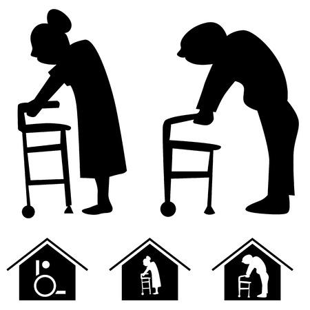 seniorenheim: Pflegeheim-Icons. Illustration