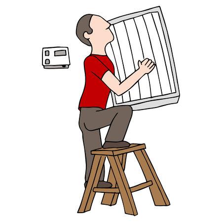 Een beeld van een man die een luchtfilter te vervangen.
