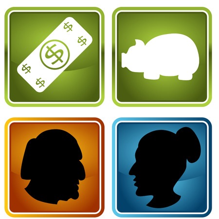 An image of retirement icons. Vector