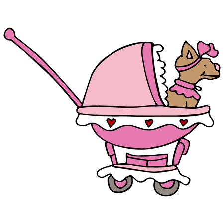An image of a tiny dog in a stroller.