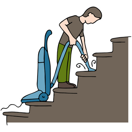 household chores: An image of a man cleaning stairs. Illustration