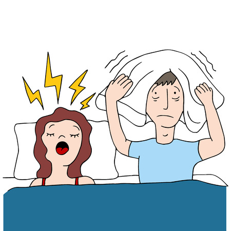 snoring: An image of a snoring wife. Illustration
