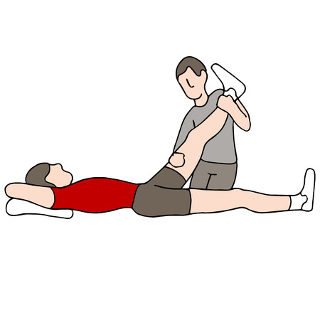 An image of a man receiving leg physical therapy. Vectores