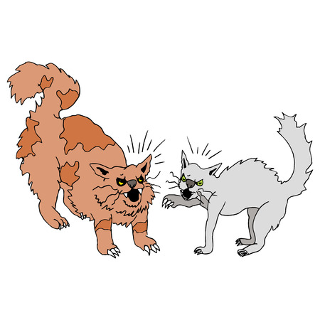 clawing: An image of two cats fighting.