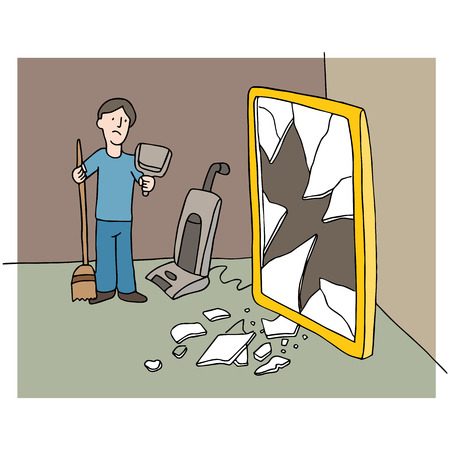 An image of man cleaning up mess from a broken mirror. Illustration