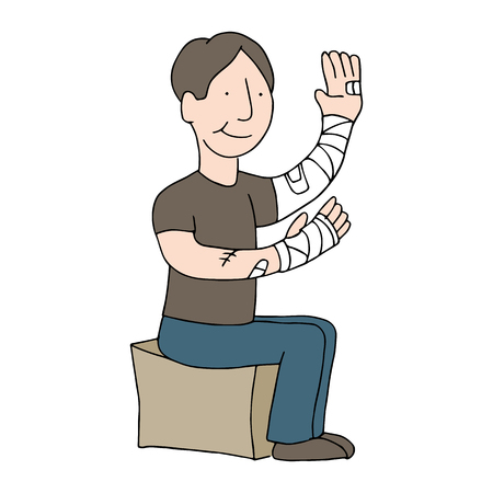 bandages: An image of a man with bandaged arms.