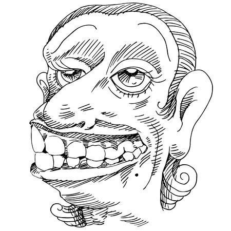 An image of a woman with large teeth. Ilustração