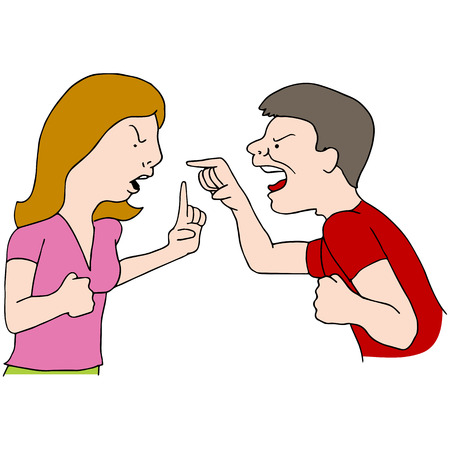 yell: An image of a couple fighting. Illustration