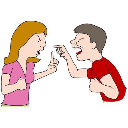Une image d'un couple combats. Vecteurs