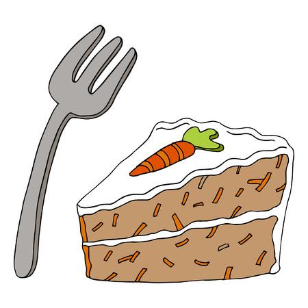 Een beeld van een stukje carrot cake en een vork.