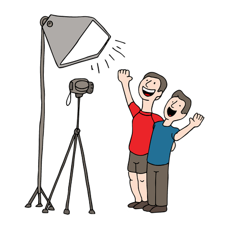 An image of two men having a video taping session. Vector